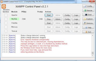 Mengatasi Masalah Apache Xampp Tidak Running