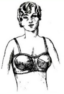 Image of drawing of woman wearing modern day type bra representing 1930's bra patent