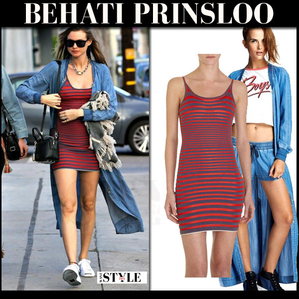 Behati Prinsloo in red stripe alexander wang mini dress and blue tencel juicy couture duster coat what she wore model style