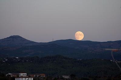 Lluna rodolant sobre la Serra de l'Obac - 31/08/2020 20:22 des de Manresa