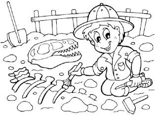 Fosiles para colorear - Paleontólogo para colorear