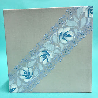 We decorated our gift box using the Series 1 Starter kit, delicate lace and vintage roses. The kits from You Can Folk It teach these designs step by step.