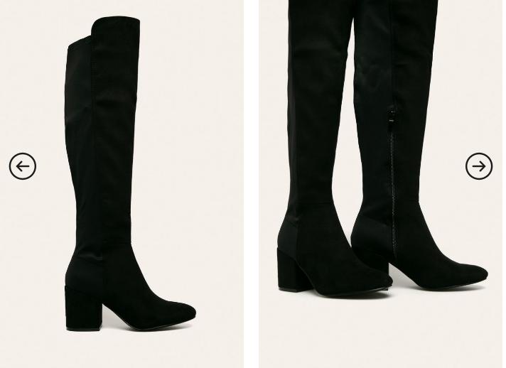 Cizme inalte pana la genunchi negre cu toc gros de iarna piele intoarsa eco