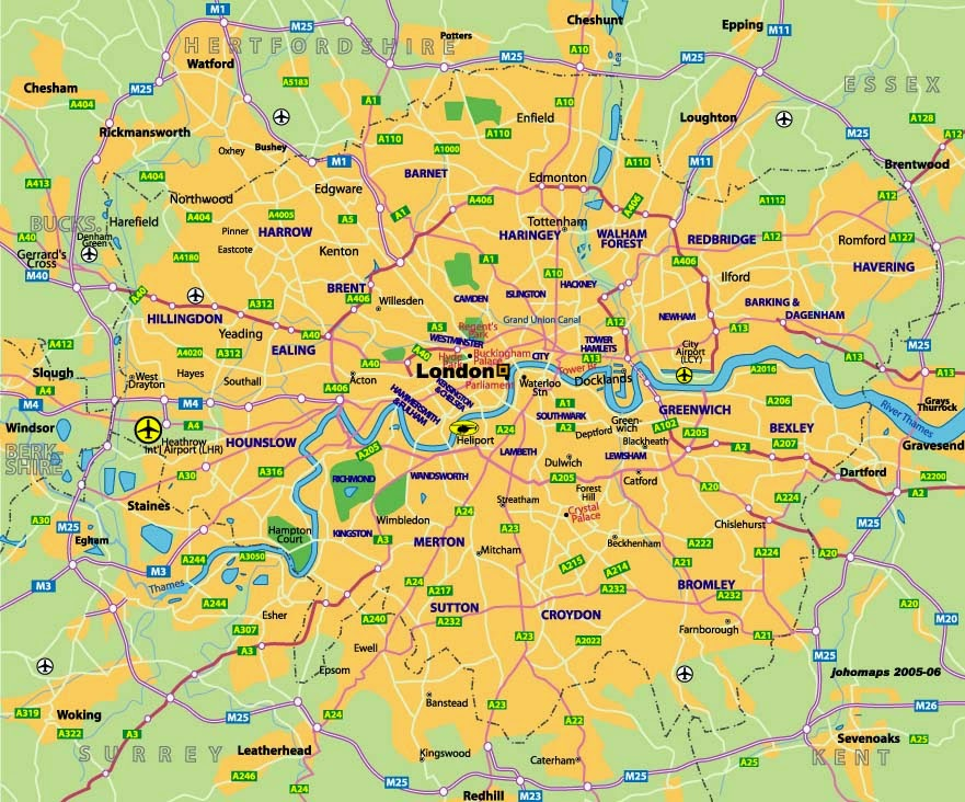 map of london uk areas