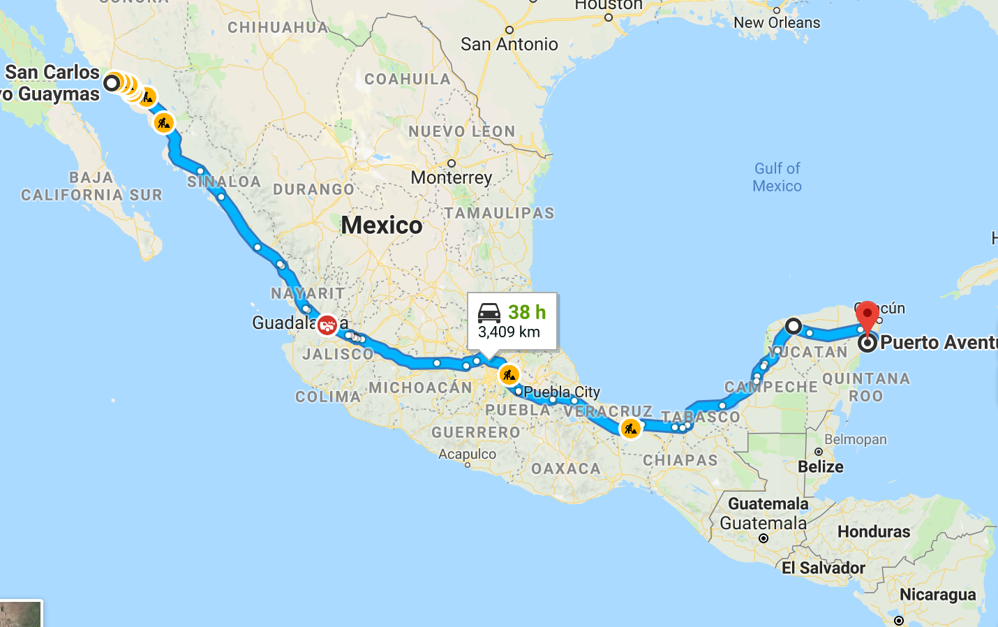 we travelled 3400 kms across mexico with 43 toll booth stops at a cost of 285 cdn not including payment at a blockade allowing us to pass through