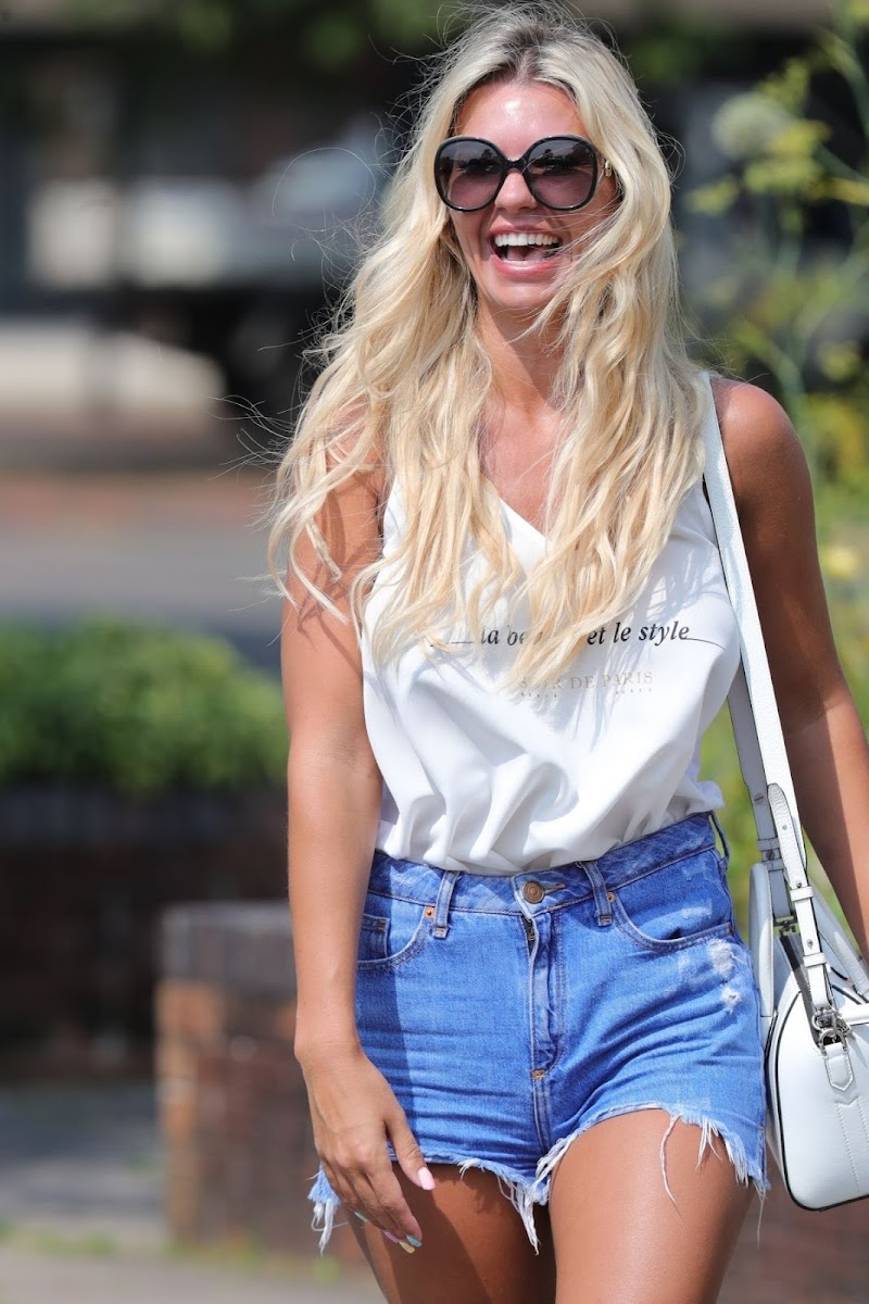 Christine McGuinness Snapped in Denim Shorts Out in Wilmslow 13 Aug -2020