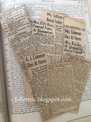 Newspaper clippings of obituaries in the Walter Davis Bible https://jollettetc.blogspot.com