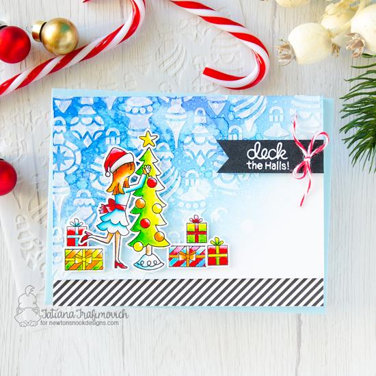 Deck the Halls Card by Tatiana Trafimovich | Christmas Trimmings Stamp Set and Ornaments Stencil by Newton's Nook Designs #newtonsnook #handmade