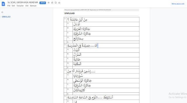 Soal Ujian Madrasah (UM) Bahasa Arab MA Tahun 2021