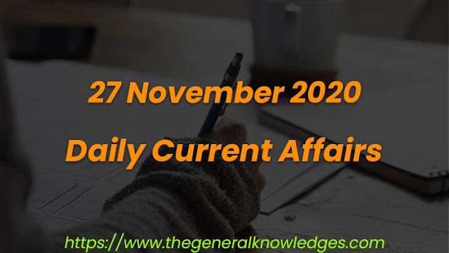 27 November 2020 Current Affairs Question and Answers in Hindi