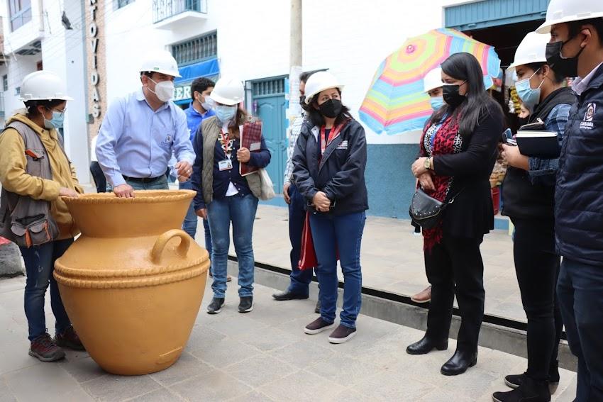 Dirección de Cultura de Cajamarca supervisa Paseo peatonal  junto a autoridades locales