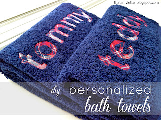 full name monogram on bath towels