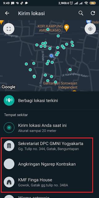 Cara Share Loc di Whatsapp 5