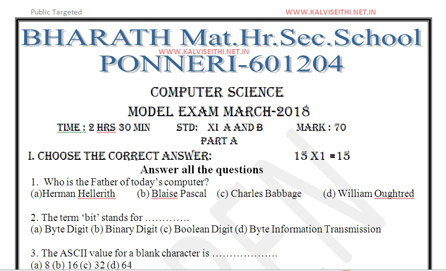 Plus one science question papers - Research paper Sample