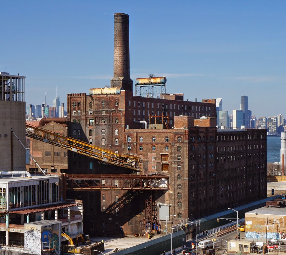 View of Domino Sugar Refinery's Landmarked Building from above on Williamsburg Bridge