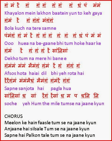 Notations Of Songs Gane Ki Lyrics V Sargam Ya Swarlipi Ya Notes Tu