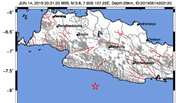 Gempa Bumi dengan Skala Magnitude 3.8 Guncang Kabupaten Bandung