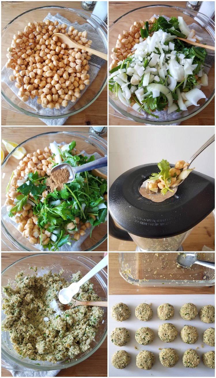 Cómo hacer falafel casero paso a paso, collage de 6 fotos