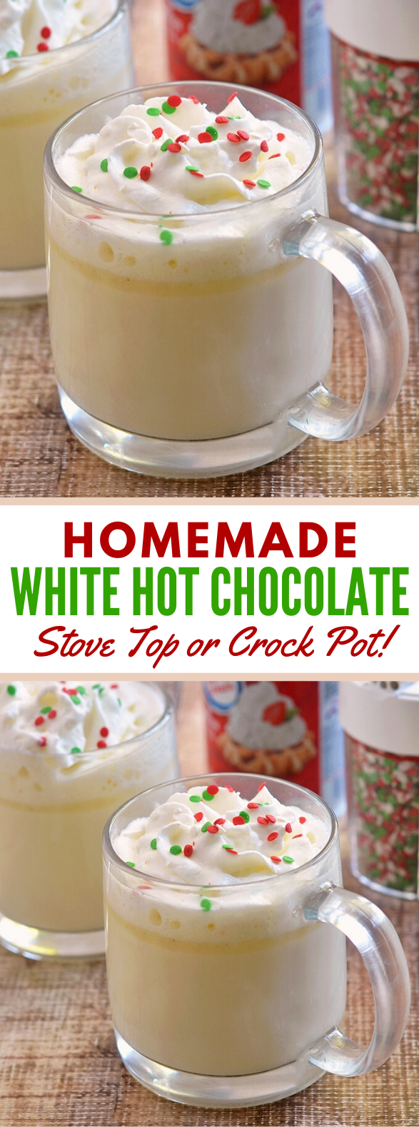 White Hot Chocolate (Stove top or Slow Cooker) #drinks #comfortfood
