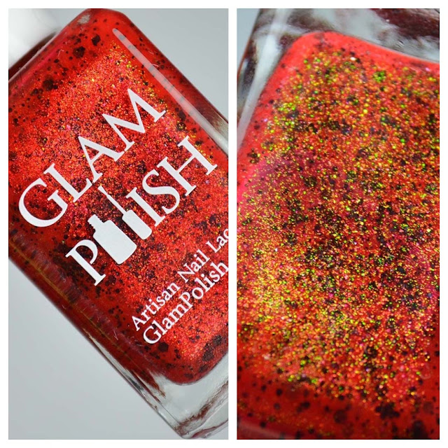 red nail polish with black glitter in a bottle