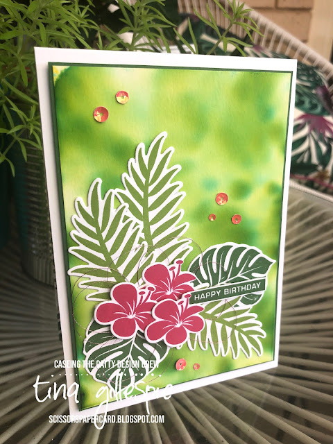 scissorspapercard, Stampin' Up!, CASEing The Catty, Label me Bold, Tropical Chic, Tropical Dies, Pigment Sprinkles