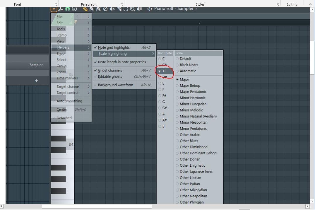 cara mengatur kunci helper di FL Studio