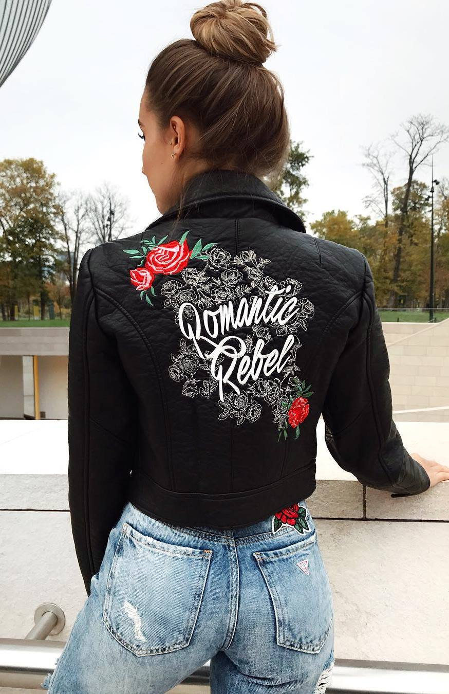 embroidered printed moto jacket and jeans