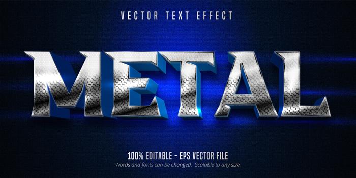Metal Text Metallic Silver Style Editable Text Effect