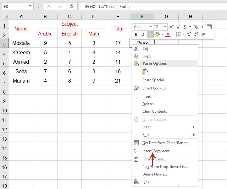 التعليقات في برنامج Excel