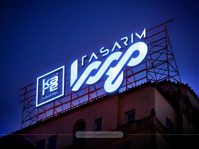 3D logo tasarımı ışıklı tabela