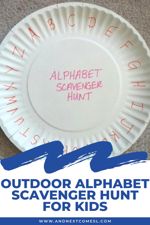 Outdoor alphabet scavenger hunt for kids with letter paper plate scorecard