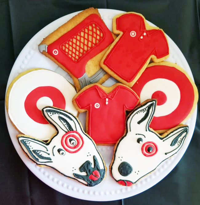 Target-themed party sugar cookies