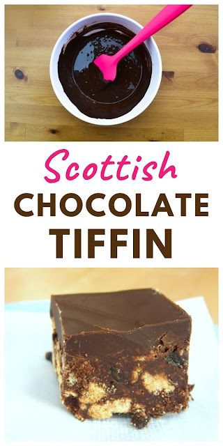 A traditional Scottish no-bake and a massive chocolate hit all in one scrumptious little square. The main ingredients are chocolate, raisins and digestive biscuits (or Graham crackers). #scottishtiffin #chocolatetiffin #scottishrecipes #tiffin #fridgecake #biscuitcake #traybake #chocolatetraybake