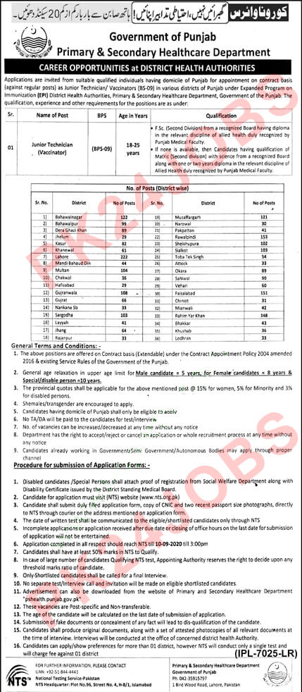 2727 Junior Technician Vaccinator Jobs Health Department Punjab Aug 2020 NTS Application Form Download