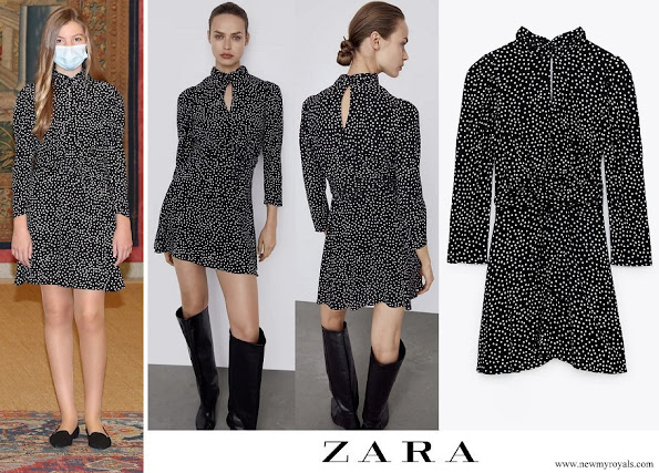 Infanta Sofia wore Zara Polka Dot High neck dress with long sleeves
