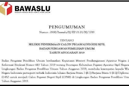 Pengumuman Seleksi Penerimaan CPNS di Badan Pengawas Pemilihan Umum 2019