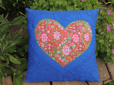 heart applique free motion quilted cushion cover