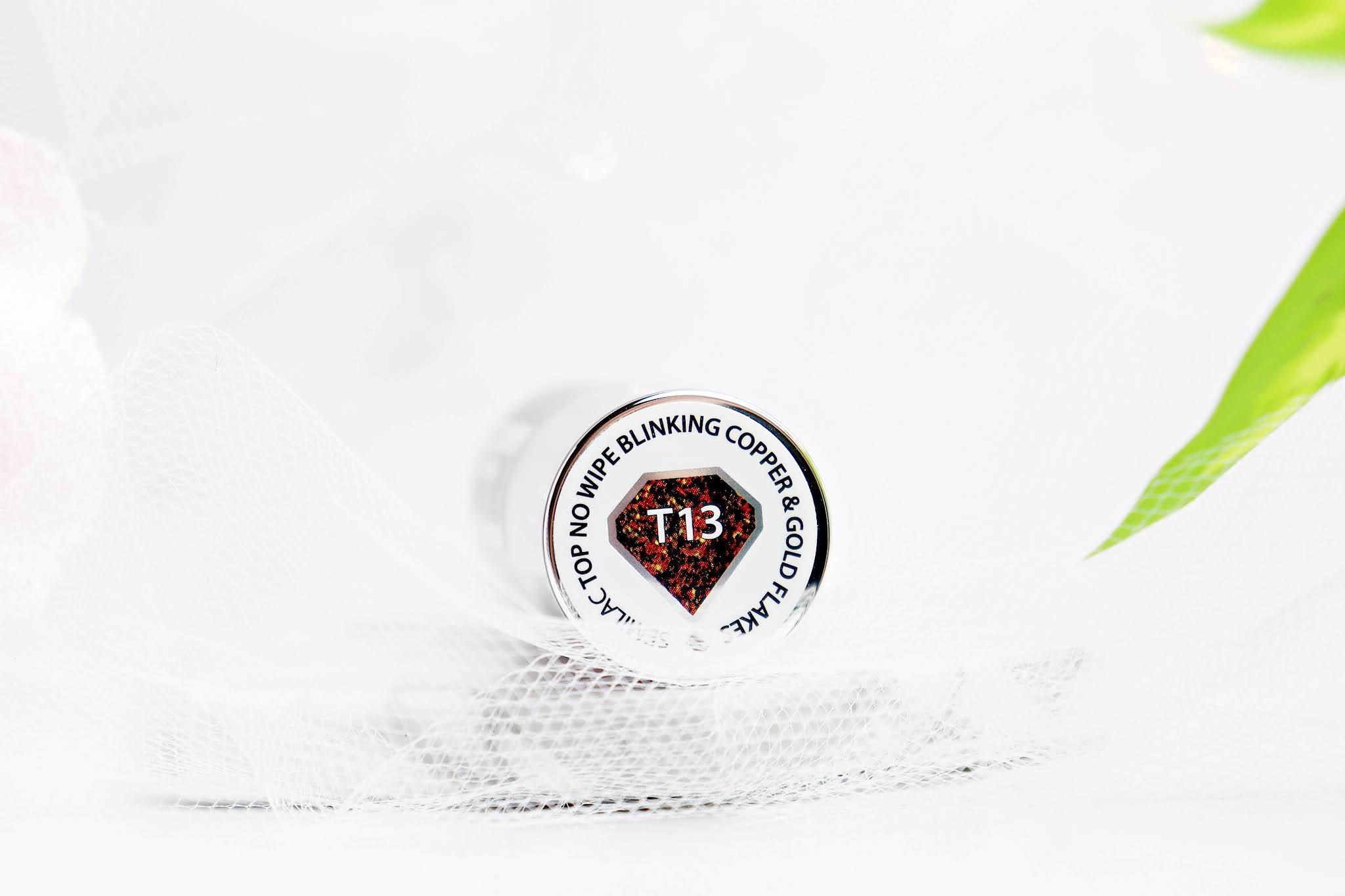 Semilac Top do Lakierów Hybrydowych Top No Wipe Copper&Gold Flakes T13
