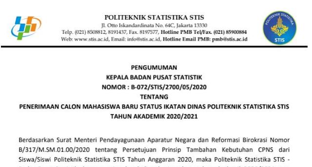 Panduan Tata Cara Pendaftaran Online Mahasiswa Politeknik Statiska  STIS Tahun 2020