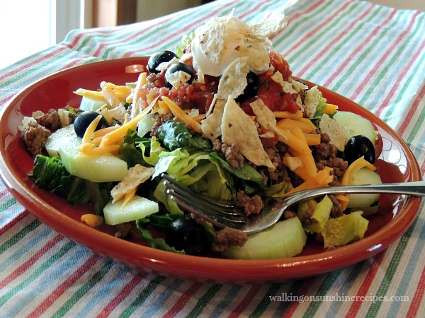 Taco Salad FEATURED PHOTO from Walking on Sunshine Recipes