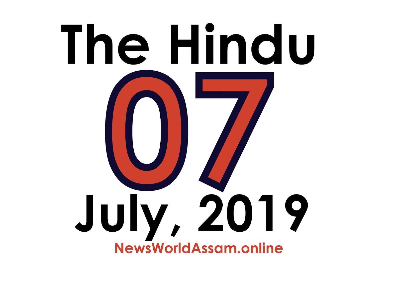 The Hindu 07 July, 19 PDF Download - News World Assam