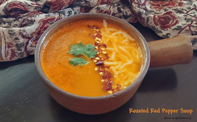 images of Roasted Red Bell Pepper Soup / Red Pepper Soup Recipe / Roasted Red Pepper Soup