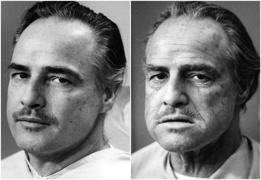 Marlon Brando Before and After Getting His Make Up Done To