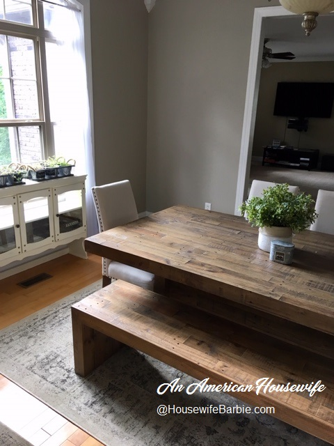 An American Housewife My Dining Room Table Ashley Furniture Sommerford Butcher Block Farmhouse Style Table In Rustic Brown