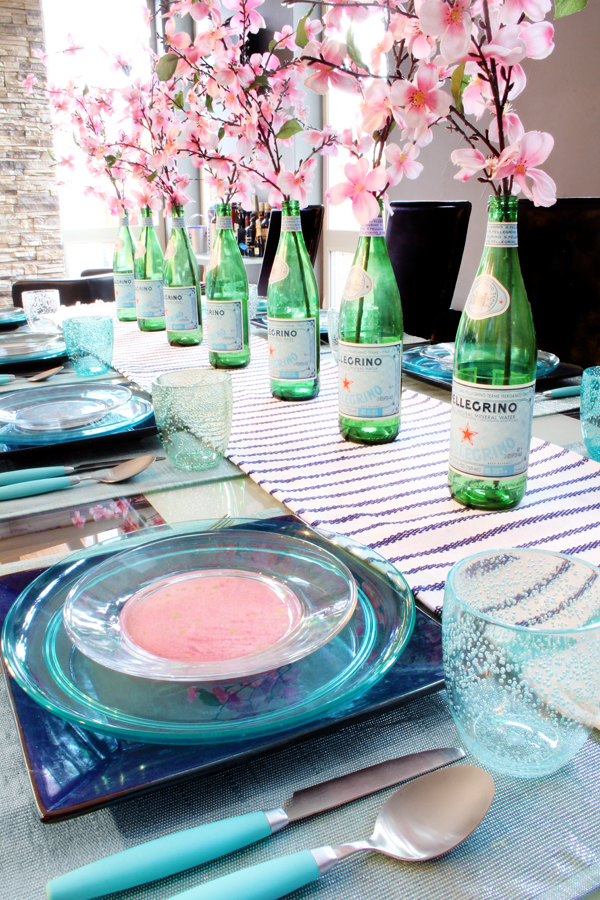 Spring Tablescape with Upcycled Pellegrino Bottle Vases and Cherry Blossoms