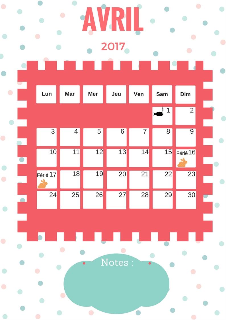 Mon atelier r cr ation calendrier 2017 gratuit imprimer - Calendrier lunaire rustica avril 2017 ...