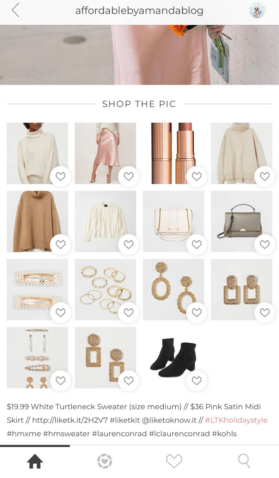 How to Make Your First $100 on LIKEtoKNOW.it as an Influencer | Affordable by Amanda on liketoknow.it app username is affordablebyamandablog sharing a $19.99 white turtleneck sweater and $36 satin pink midi skirt from kohl's