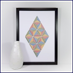 Abstract geometric triangles in a diamond A4 print and stitch on card shadow effect paper embroidery pattern for picture making.