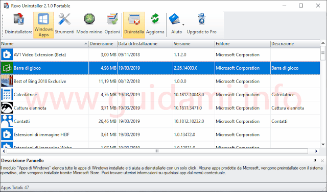 Revo Uninstaller Free con sezione Windows Apps