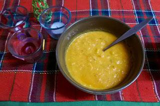 cauliflower cheese, veg and rice soup